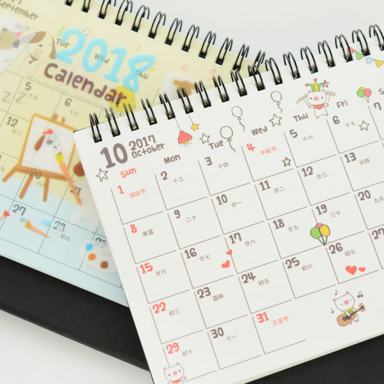 Diary Notepad Colorful Desk Calendar Printing, Wire-O Wall Calendar