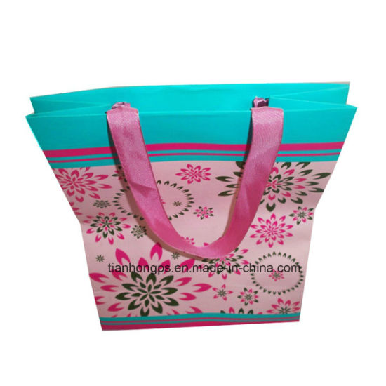 Folded-Shopping Fancy Paper Bag, Ribbon Handles